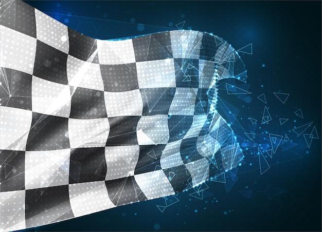 Drapeau vectoriel, objet 3d abstrait virtuel quadrillé noir et blanc à partir de polygones triangulaires sur fond bleu