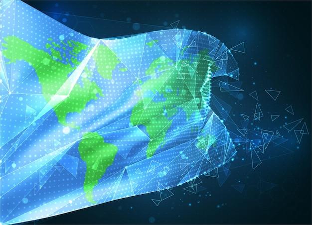 Drapeau vectoriel de protection de la terre, objet 3d abstrait virtuel à partir de polygones triangulaires sur fond bleu