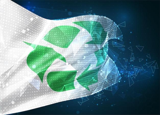 Drapeau vectoriel de recyclage des ordures, objet 3d abstrait virtuel à partir de polygones triangulaires sur fond bleu