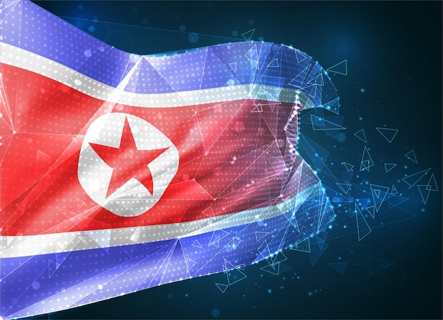 Drapeau vectoriel de la république populaire démocratique de corée, objet 3d abstrait virtuel à partir de polygones triangulaires sur fond bleu