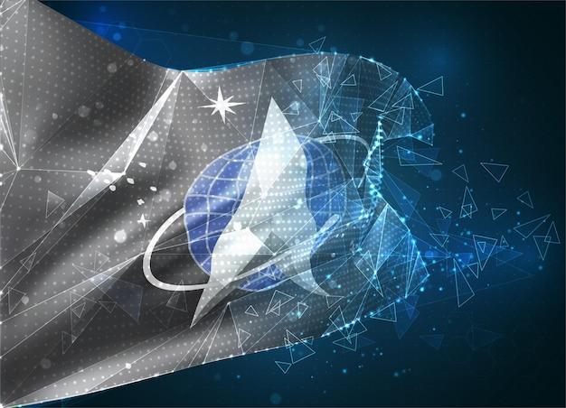 Drapeau vectoriel des troupes spatiales, objet 3d abstrait virtuel à partir de polygones triangulaires sur fond bleu