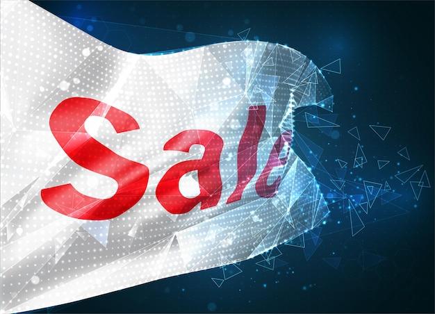 Drapeau vectoriel de vente et de réduction, objet 3d abstrait virtuel à partir de polygones triangulaires sur fond bleu