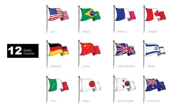 Drapeaux de 12 pays