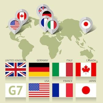 Drapeaux 7g7 du canada, des états-unis, du royaume-uni, du japon, de l'italie, de la france et de l'allemagne