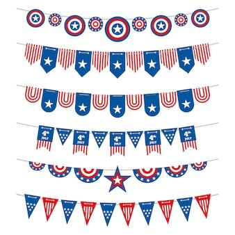 Drapeaux américains banderoles patriotiques guirlandes pour la fête de l'indépendance des états-unis le 4 juillet et les élections présidentielles.