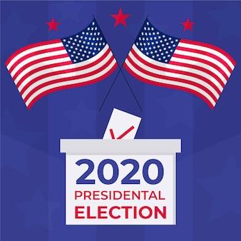 Drapeaux américains et boîte de vote illustrés