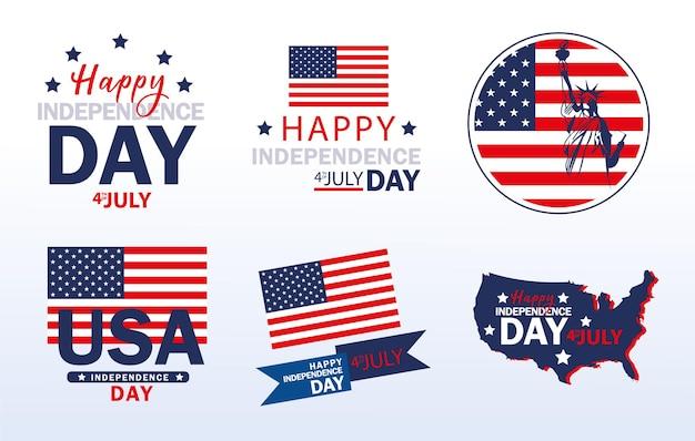 Drapeaux américains joyeux jour de l'indépendance