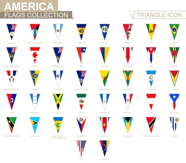 Drapeaux d'amérique, tous les drapeaux américains. icône triangulaire.