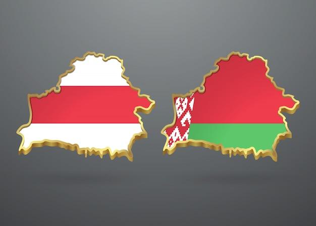 Drapeaux anciens et nouveaux de la biélorussie sous la forme d'une carte de la république.