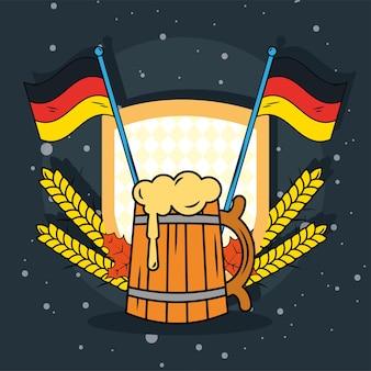 Drapeaux de la bière et de l'allemagne