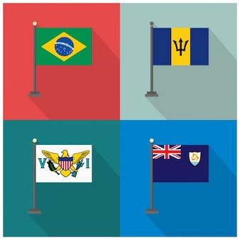 Drapeaux brésil barbade fidji