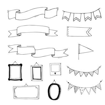 Drapeaux et cadres de rubans dessinés à la main