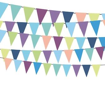 Drapeaux colorés et guirlandes de banderoles pour la décoration. éléments de décor avec divers motifs. illustration vectorielle