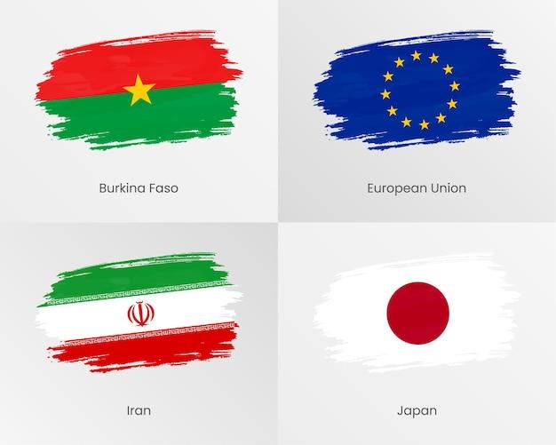 Drapeaux de coup de pinceau du burkina faso, de l'union européenne, de l'iran et du japon