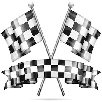 Drapeaux de course sur blanc