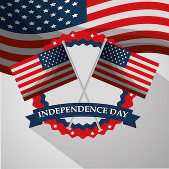 Drapeaux croisés étiquette ornement américain jour de l'indépendance
