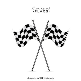 Drapeaux damier de course avec un design plat