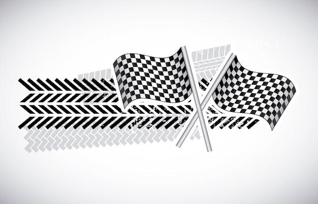 Drapeaux à damier sur illustration vectorielle fond gris