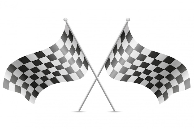 Drapeaux à damier pour illustration vectorielle de course automobile