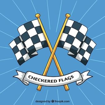 Drapeaux damiers de course dessinés à la main