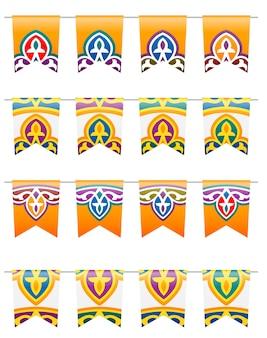 Drapeaux décoratifs traditionnels colorés du ramadan