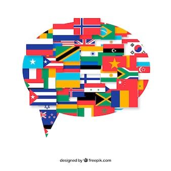 Drapeaux de différents pays en forme de bulle de dialogue