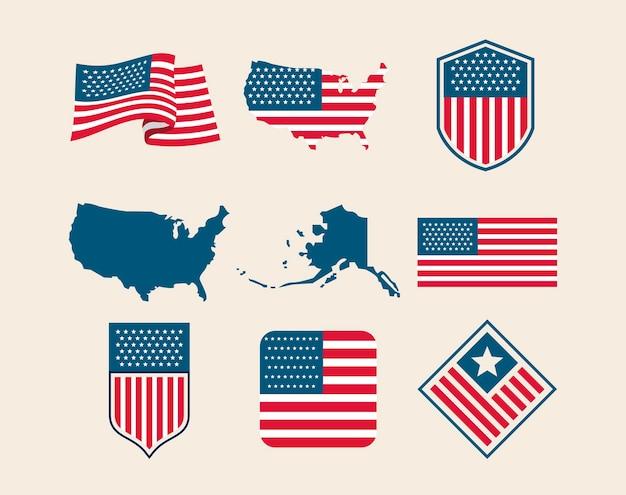 Drapeaux et emblèmes des états-unis