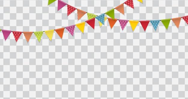 Drapeaux de fête sur fond transparent