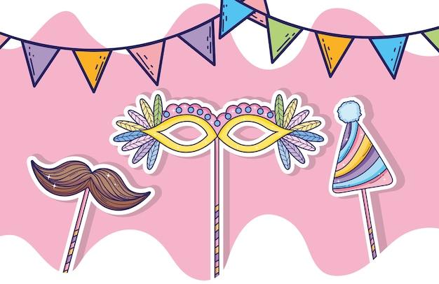Drapeaux de fête avec masque et moustache