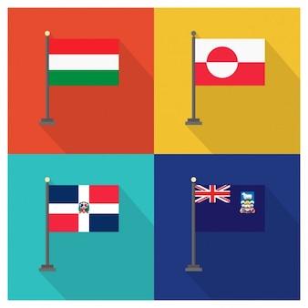 Drapeaux hongrie groenland république dominicaine et les îles falkland
