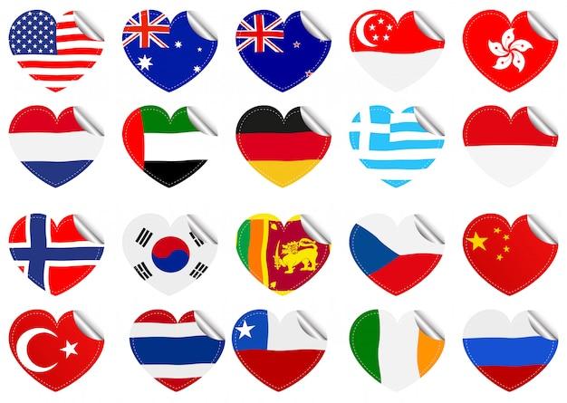 Drapeaux internationaux sur la forme de coeur