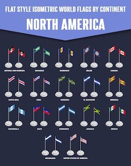 Drapeaux isométriques de style plat pour l'amérique du nord
