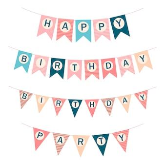 Drapeaux de joyeux anniversaire de vecteur. drapeaux de modèle imprimable. illustration vectorielle de joyeux anniversaire