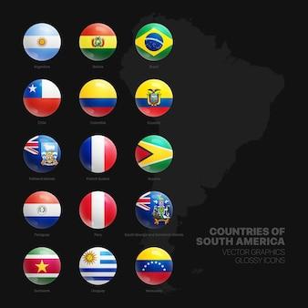 Drapeaux nationaux officiels des pays de l'amérique du sud round 3d glossy icons set
