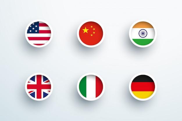 Drapeaux nationaux rond 3d bouton cercle icons set