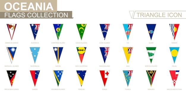 Drapeaux d'océanie, tous les drapeaux océaniens. icône triangulaire.