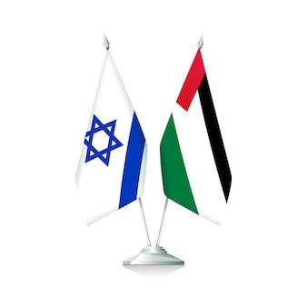 Drapeaux de la palestine et d'israël isolés sur fond blanc. illustration vectorielle