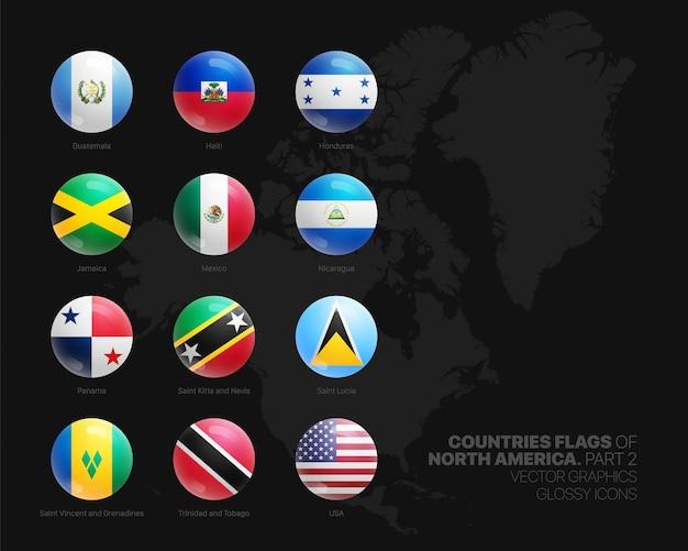 Drapeaux de pays d'amérique du nord rond brillant icons set