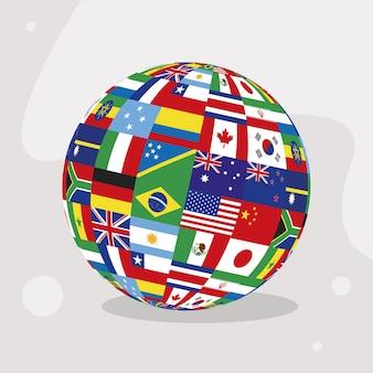 Drapeaux de pays dans la sphère