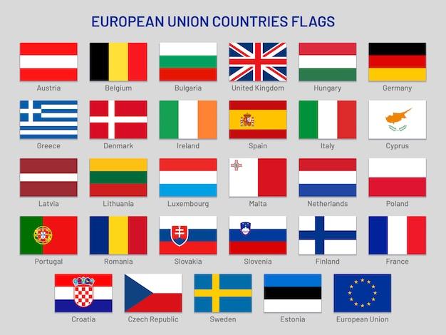 Drapeaux des pays de l'union européenne. états de voyage en europe, jeu de drapeau des pays membres de l'ue