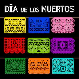 Drapeaux picorés suspendus mexicains