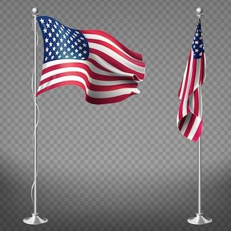 Drapeaux réalistes 3d des états-unis d'amérique sur des poteaux en acier