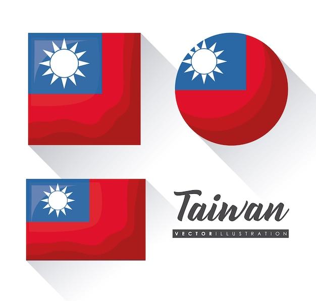 Drapeaux de taiwan dans différentes formes