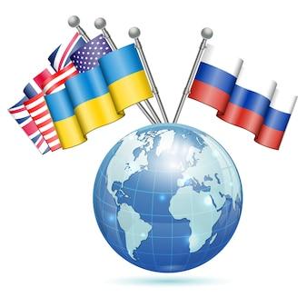 Drapeaux de l'ukraine, des états-unis, du royaume-uni et de la russie