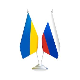 Drapeaux de l'ukraine et de la russie pays isolés sur fond blanc. illustration vectorielle