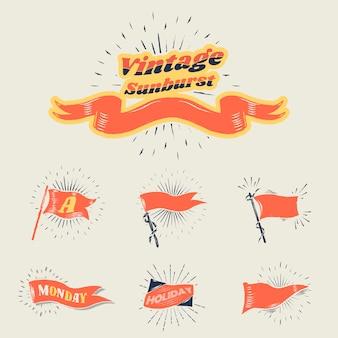 Drapeaux vintage sunburst