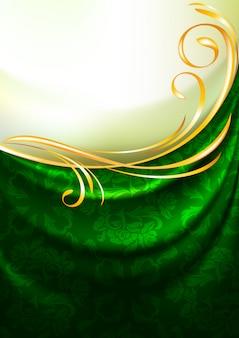Drapés de tissu vert avec ornement, fond