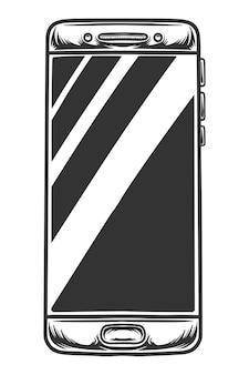 Drawig noir et blanc de téléphone mobile, isolé sur fond blanc.