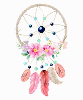 Dreamcatcher aquarelle avec fleur rose