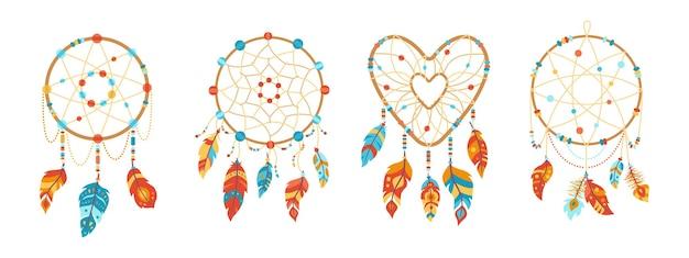 Dreamcatcher boho avec jeu de dessin animé de plumes. design ethnique, boho chic. plumes d'oiseaux, talisman